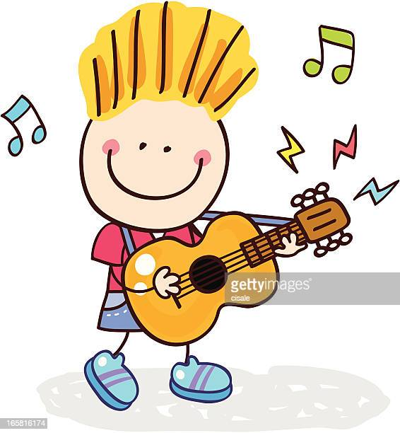 ilustraciones, imágenes clip art, dibujos animados e iconos de stock de tocando la guitarra niño - puntear un instrumento