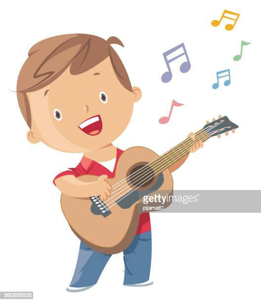 boy playing guitar - guitarist stock illustrations, clip art, cartoons, & icons
