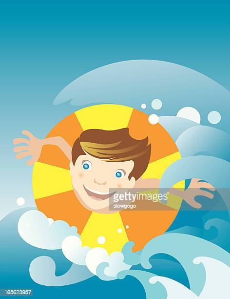 Jungen Spielen im Wasser