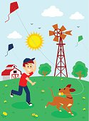 Boy Playing Kite with His Dog Clipart