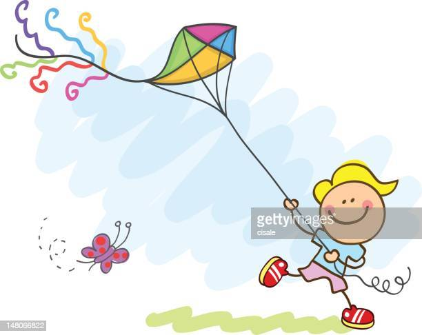 boy playing with kite cartoon illustration - messing about stock illustrations