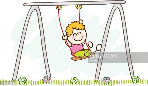 Niño jugando con oscilación ilustración dibujo animado