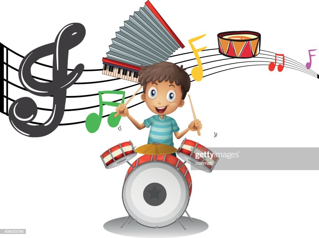 Boy plays drumset with music notes in background