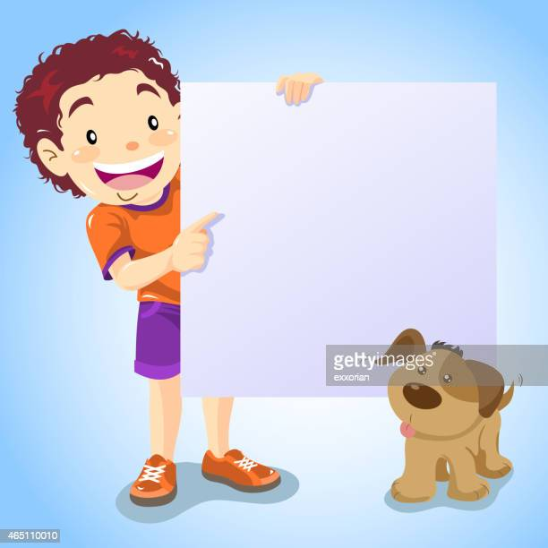 Boy Pointing The Notice with His Dog