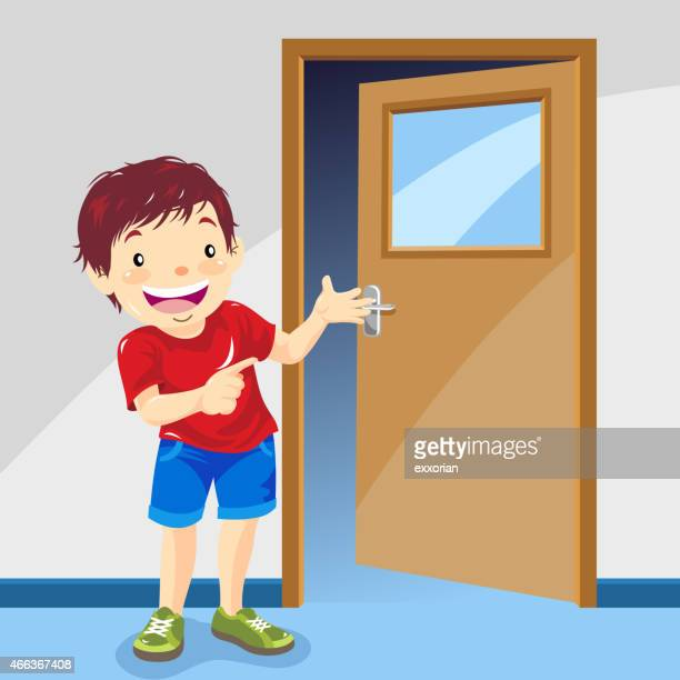 boy pointing the way in front of the door - domestic room stock illustrations, clip art, cartoons, & icons