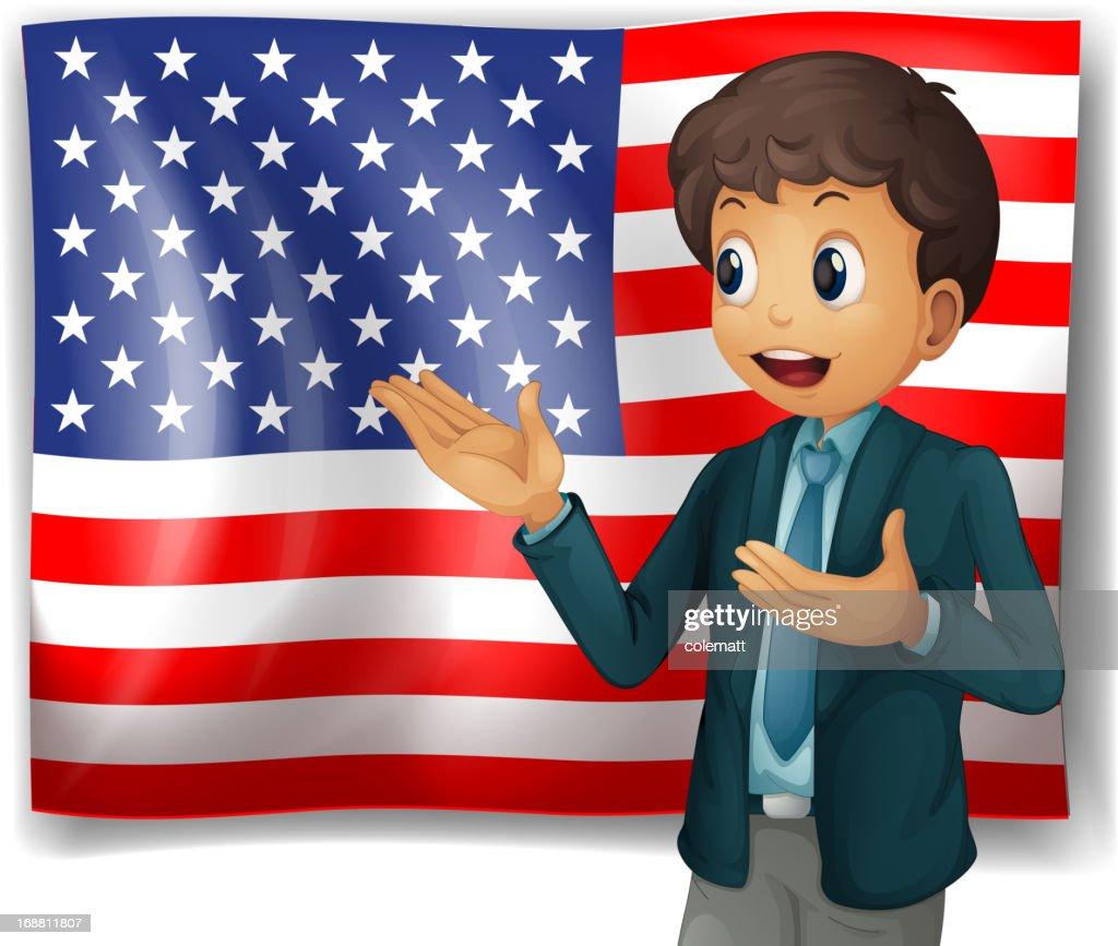 Boy presenting the USA flag