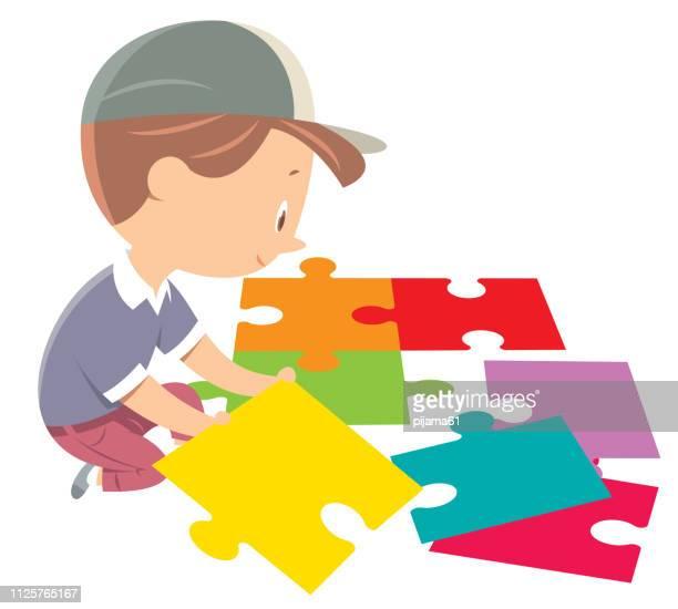 illustrazioni stock, clip art, cartoni animati e icone di tendenza di puzzle per ragazzi - puzzle