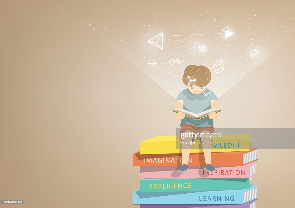 Boy reading on a pile books, icons refer to knowledge.