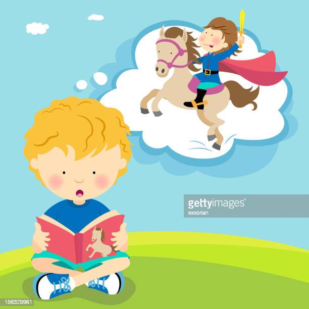boy reading with imagination - prince royal person stock illustrations