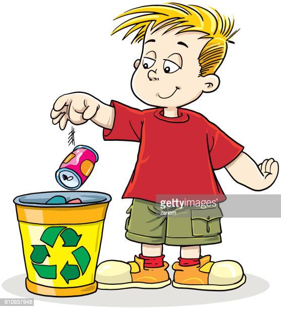 boy recycling can - throwing stock illustrations
