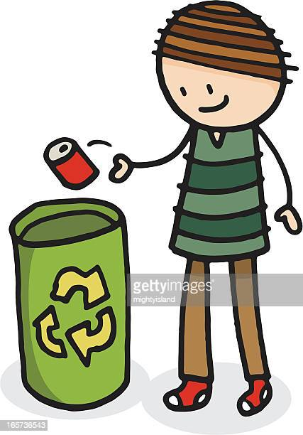 illustrations, cliparts, dessins animés et icônes de garçon de recyclage - lance