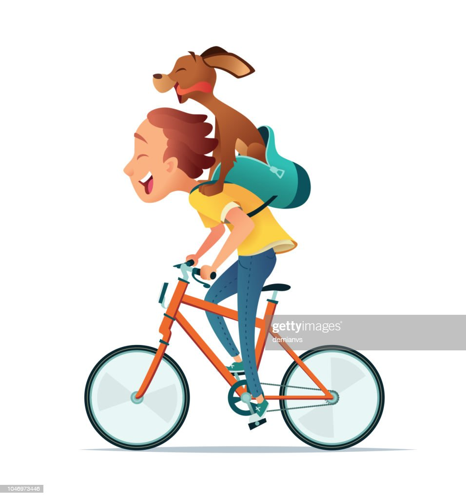 Boy riding a bicycle with a dog. Friendship of the child and the dog. Vector illustration.