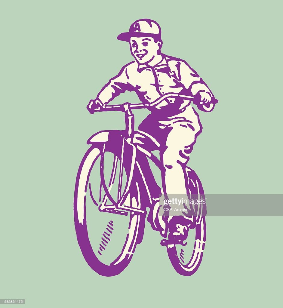Boy Riding Bicycle : Vector Art