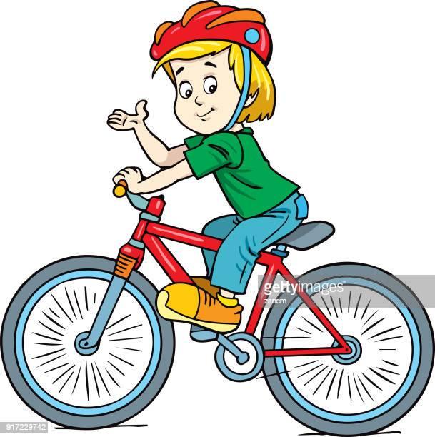 boy riding bike - bike helmet stock illustrations, clip art, cartoons, & icons