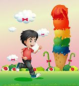 boy running in the candyland