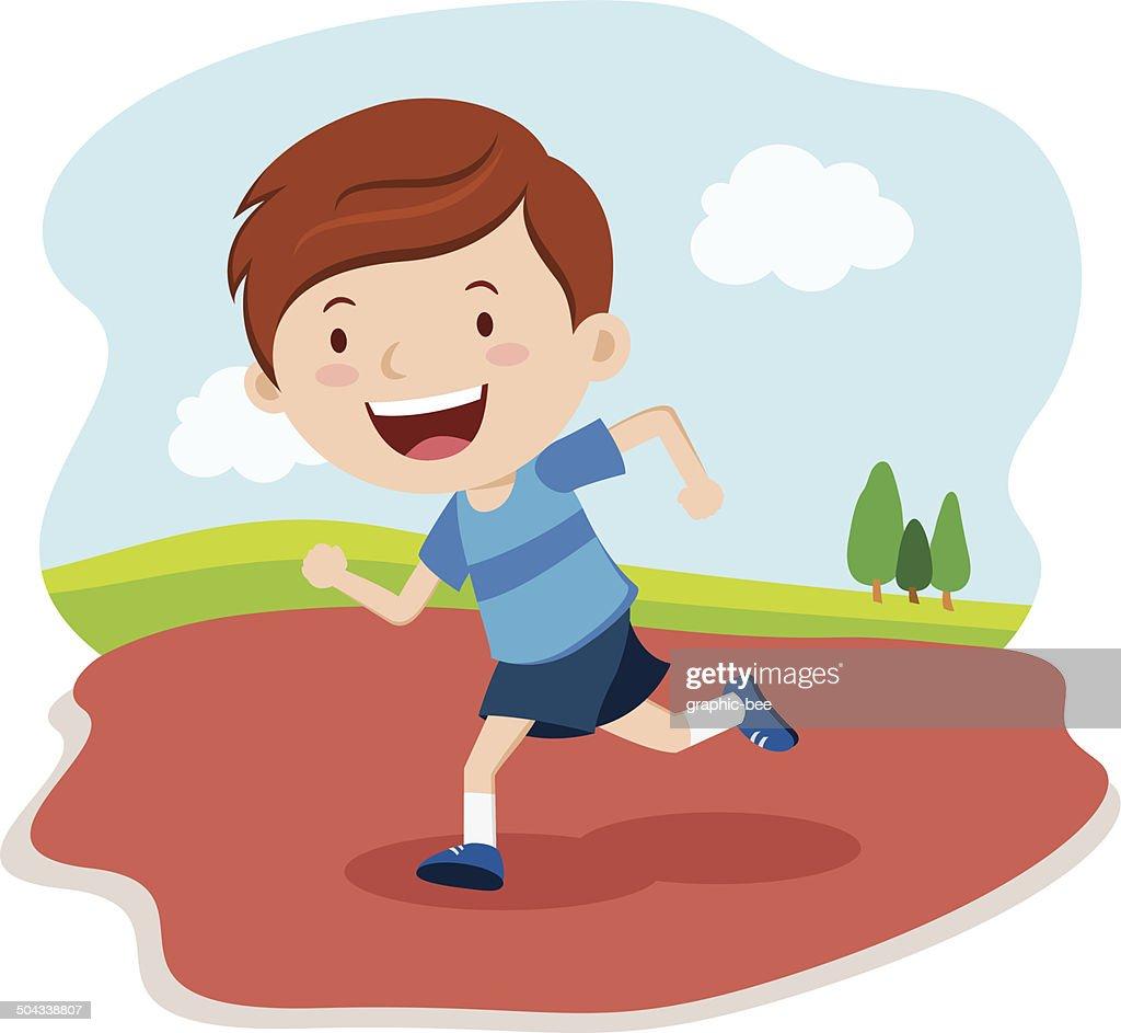 Boy running race