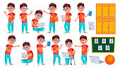 Boy Schoolboy Kid Poses Set Vector. Primary School Child. Schooler. Young People. University, Graduate. For Advertising, Placard, Print Design. Isolated Cartoon Illustration