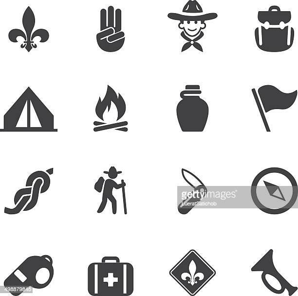 boy scout silhouette icons| eps10 - tent stock illustrations, clip art, cartoons, & icons
