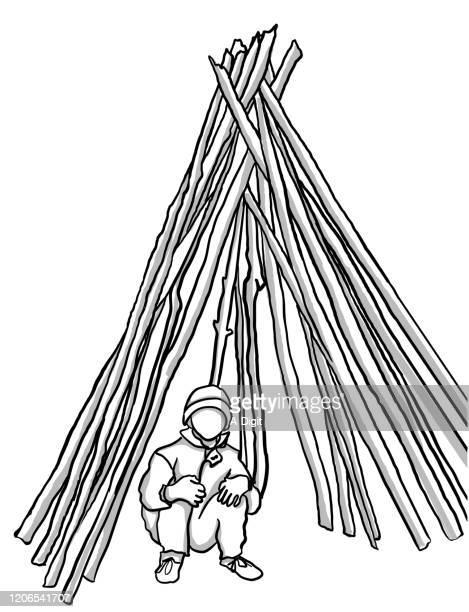 boy scout - windbreak stock illustrations