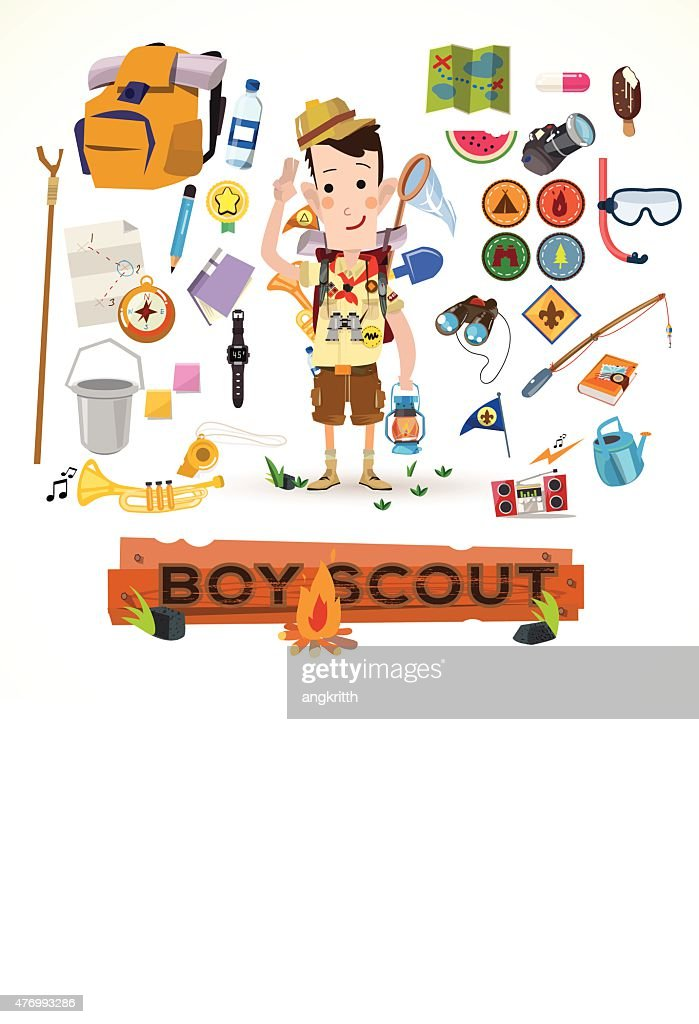 boy scout with camping equipment and object - vector illustration