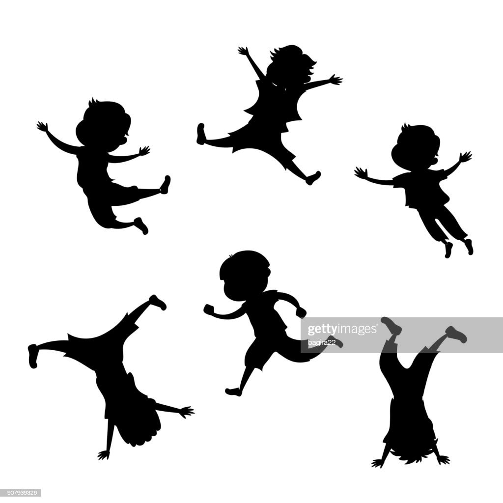 Boy silhouette in 6 action poses