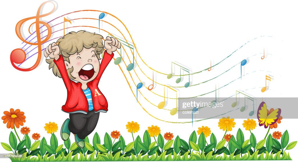 Boy singing at the garden