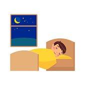 Boy sleeping on the bed.