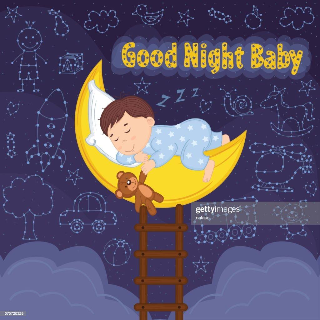 boy sleeps on moon