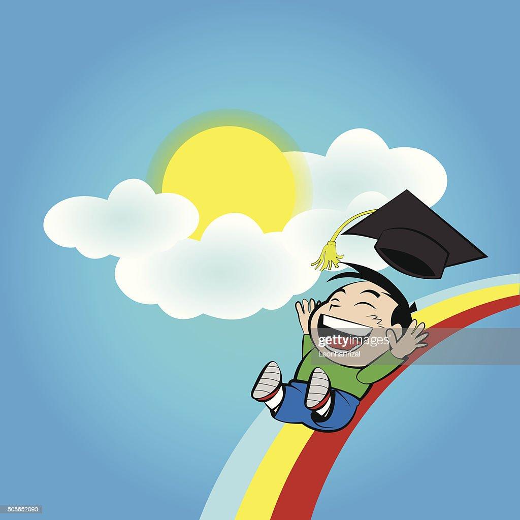 Boy slide on rainbow