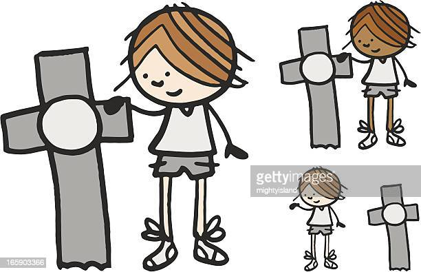 boy stood next to cross - next to stock illustrations
