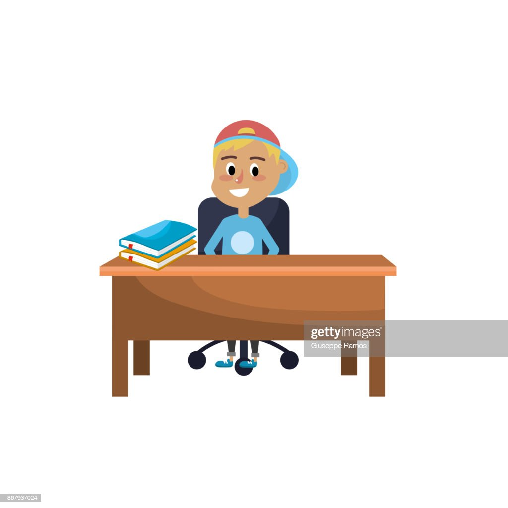 Boy Student Sitting In The Wood Desk Vector Art