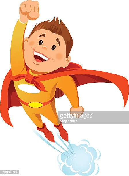 Boy Super Hero in Flight