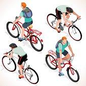 Boy Teen Cycling Isometric People