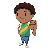 Boy thumbs down, vector illustration