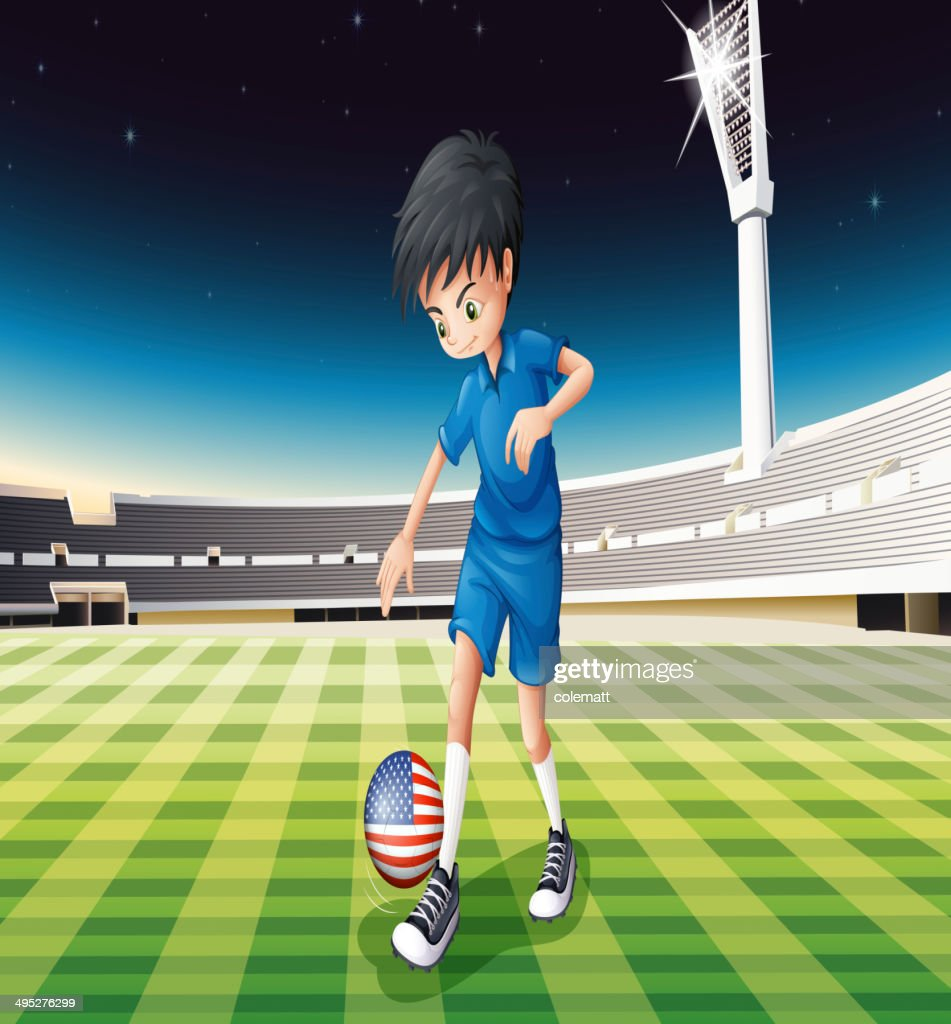Boy using ball with flag of the United States