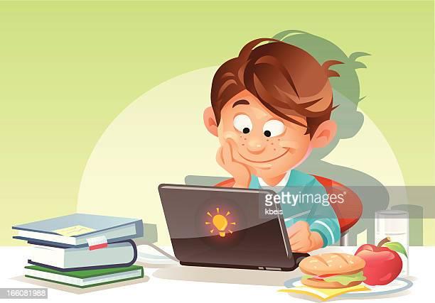 Menino usando o Laptop