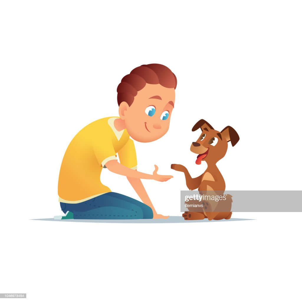 Boy  walking with a dog. Friendship of the child and the dog. Vector illustration.