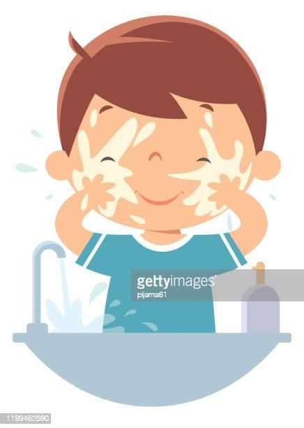 ilustraciones, imágenes clip art, dibujos animados e iconos de stock de niño lavando la cara - habitos de higiene