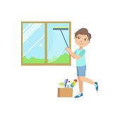 Boy Washing The Window With Wiper