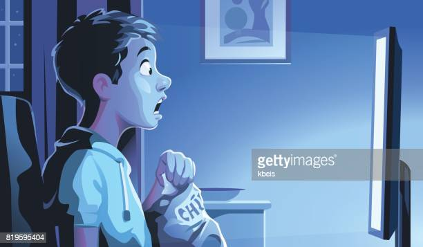 boy watching tv at night - teenager stock illustrations