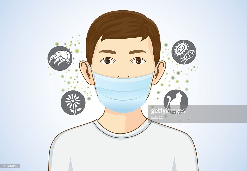 Boy wearing breath mask for protect allergic.