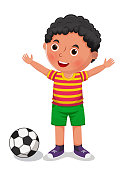 Boy with a ball vector illustration