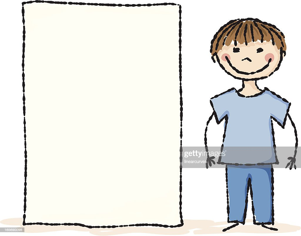 Boy with a blank placard : stock illustration