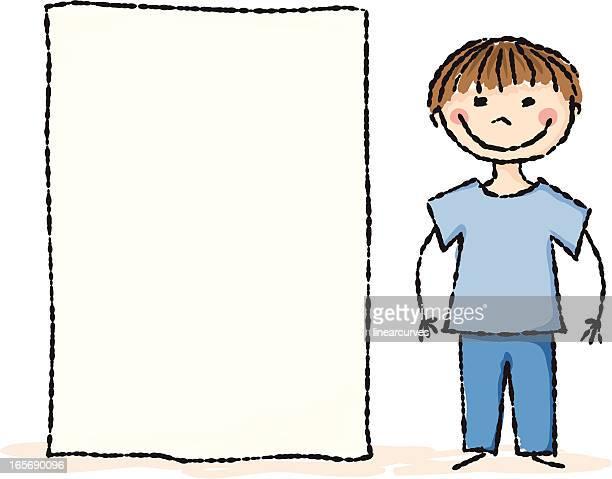 Boy with a blank placard