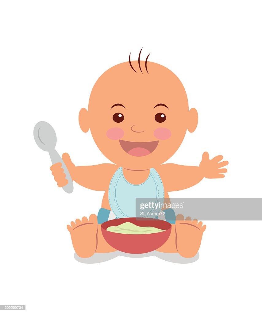 Boy with a bowl of porridge.