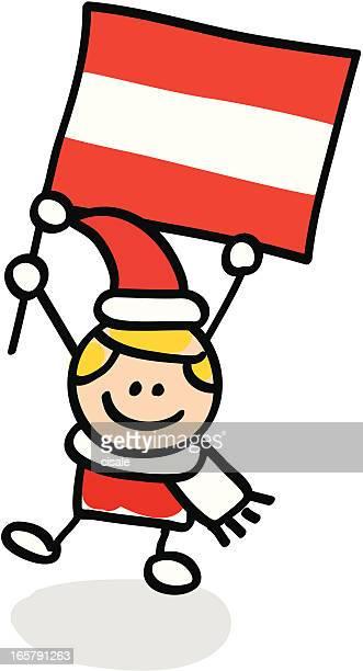 Junge mit Österreich Flagge cartoon illustration
