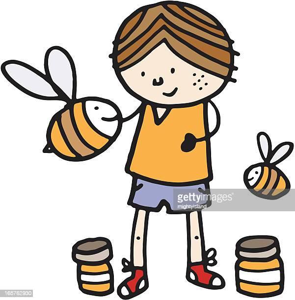 Menino com abelhas e jarros de Mel