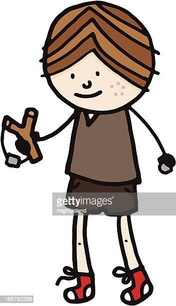 ilustraciones, imágenes clip art, dibujos animados e iconos de stock de niño con catapultar - inocentada