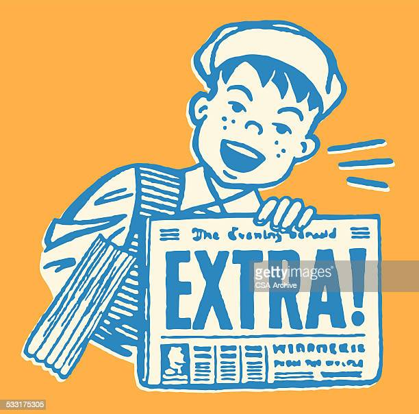 Boy with Extra Version of Newspaper