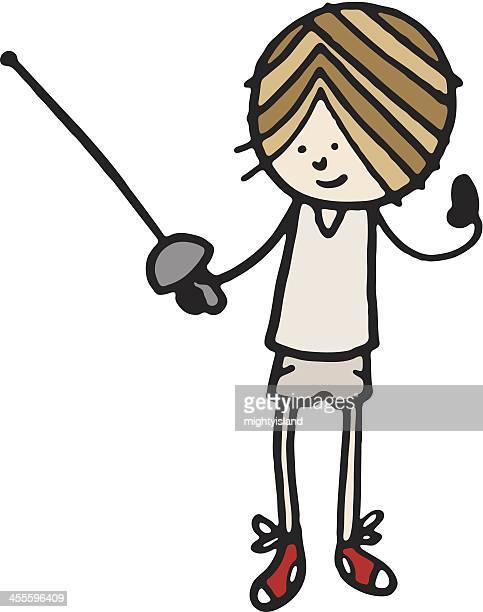 Boy with fencing sword